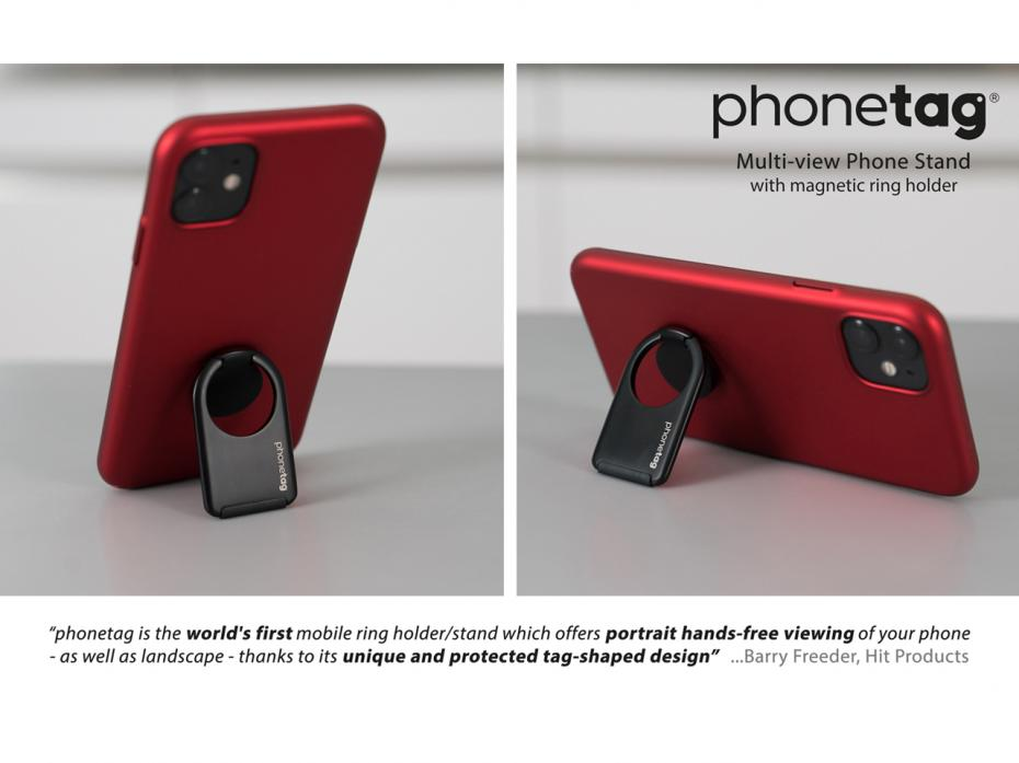 phonetag - Multi-view Phone Stand with Magnetic Ring Holder